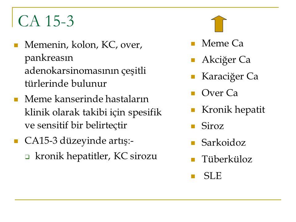 CA 15-3 Memenin, kolon, KC, over, pankreasın adenokarsinomasının çeşitli türlerinde bulunur Meme kanserinde hastaların klinik olarak takibi için spesi