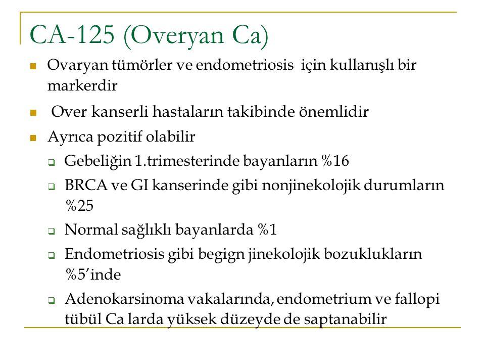 CA-125 (Overyan Ca) Ovaryan tümörler ve endometriosis için kullanışlı bir markerdir Over kanserli hastaların takibinde önemlidir Ayrıca pozitif olabil