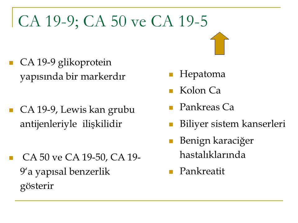 CA 19-9; CA 50 ve CA 19-5 CA 19-9 glikoprotein yapısında bir markerdır CA 19-9, Lewis kan grubu antijenleriyle ilişkilidir CA 50 ve CA 19-50, CA 19- 9
