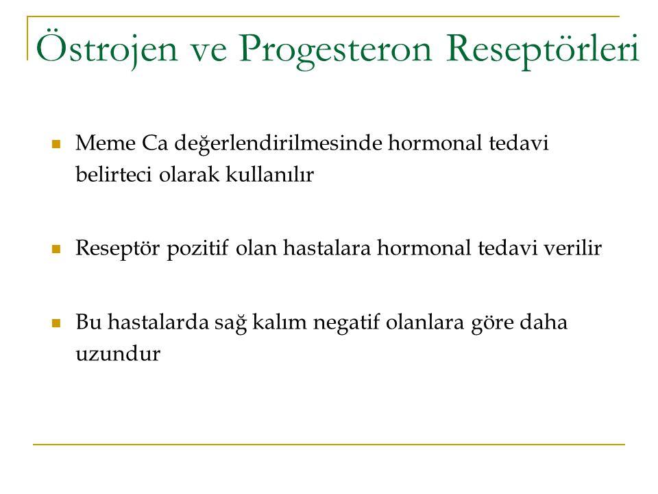 Östrojen ve Progesteron Reseptörleri Meme Ca değerlendirilmesinde hormonal tedavi belirteci olarak kullanılır Reseptör pozitif olan hastalara hormonal