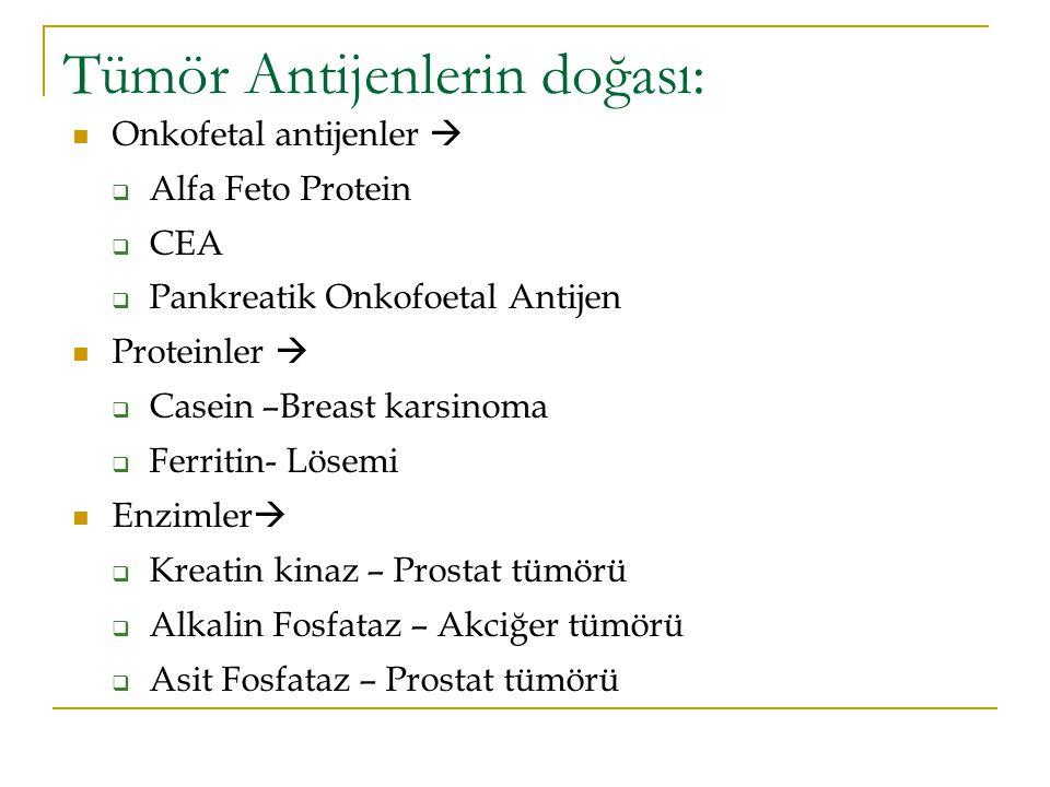 Tümör Antijenlerin doğası: Onkofetal antijenler   Alfa Feto Protein  CEA  Pankreatik Onkofoetal Antijen Proteinler   Casein –Breast karsinoma 