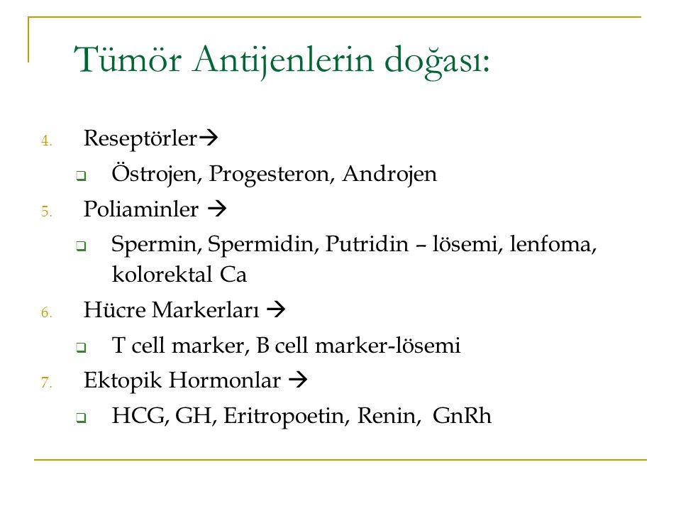 4. Reseptörler   Östrojen, Progesteron, Androjen 5. Poliaminler   Spermin, Spermidin, Putridin – lösemi, lenfoma, kolorektal Ca 6. Hücre Markerlar
