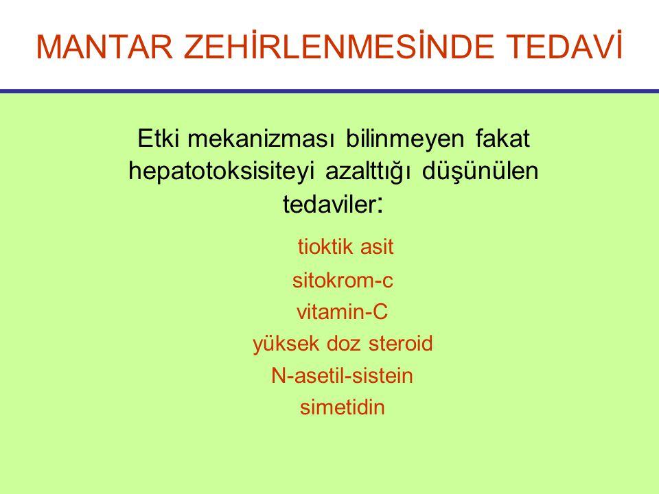 Etki mekanizması bilinmeyen fakat hepatotoksisiteyi azalttığı düşünülen tedaviler : tioktik asit sitokrom-c vitamin-C yüksek doz steroid N-asetil-sistein simetidin MANTAR ZEHİRLENMESİNDE TEDAVİ