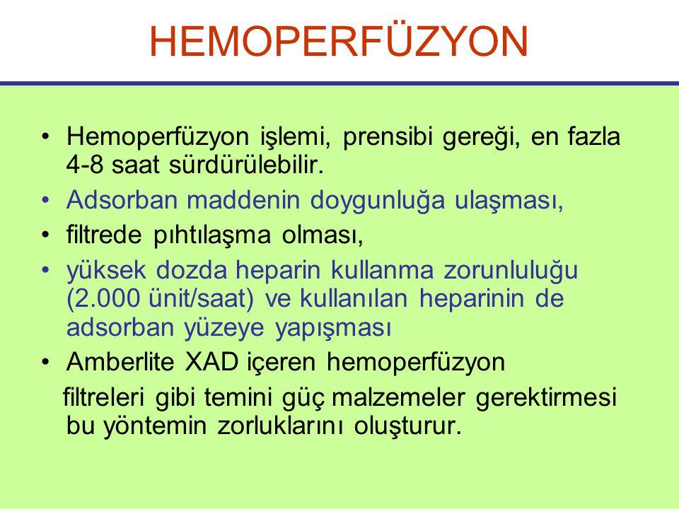 HEMOPERFÜZYON Hemoperfüzyon işlemi, prensibi gereği, en fazla 4-8 saat sürdürülebilir.