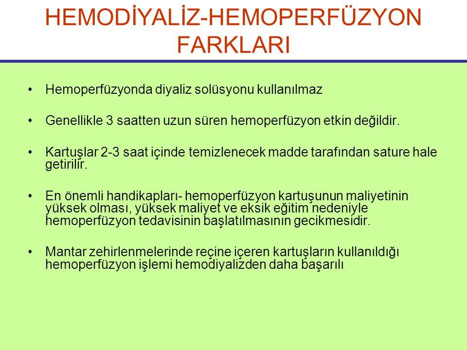 HEMODİYALİZ-HEMOPERFÜZYON FARKLARI Hemoperfüzyonda diyaliz solüsyonu kullanılmaz Genellikle 3 saatten uzun süren hemoperfüzyon etkin değildir.