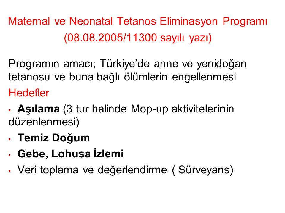 Maternal ve Neonatal Tetanos Eliminasyon Programı (08.08.2005/11300 sayılı yazı) Programın amacı; Türkiye'de anne ve yenidoğan tetanosu ve buna bağlı