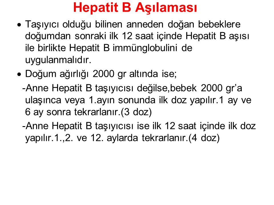 Hepatit B Aşılaması  Taşıyıcı olduğu bilinen anneden doğan bebeklere doğumdan sonraki ilk 12 saat içinde Hepatit B aşısı ile birlikte Hepatit B immün