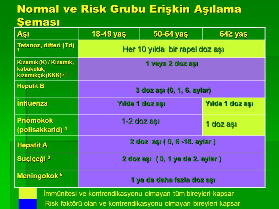 Normal ve Risk Grubu Erişkin Aşılama Şeması Aşı 18-49 yaş 50-64 yaş 64≥ yaş Tetanoz, difteri (Td) 1 Her 10 yılda bir rapel doz aşı Her 10 yılda bir ra