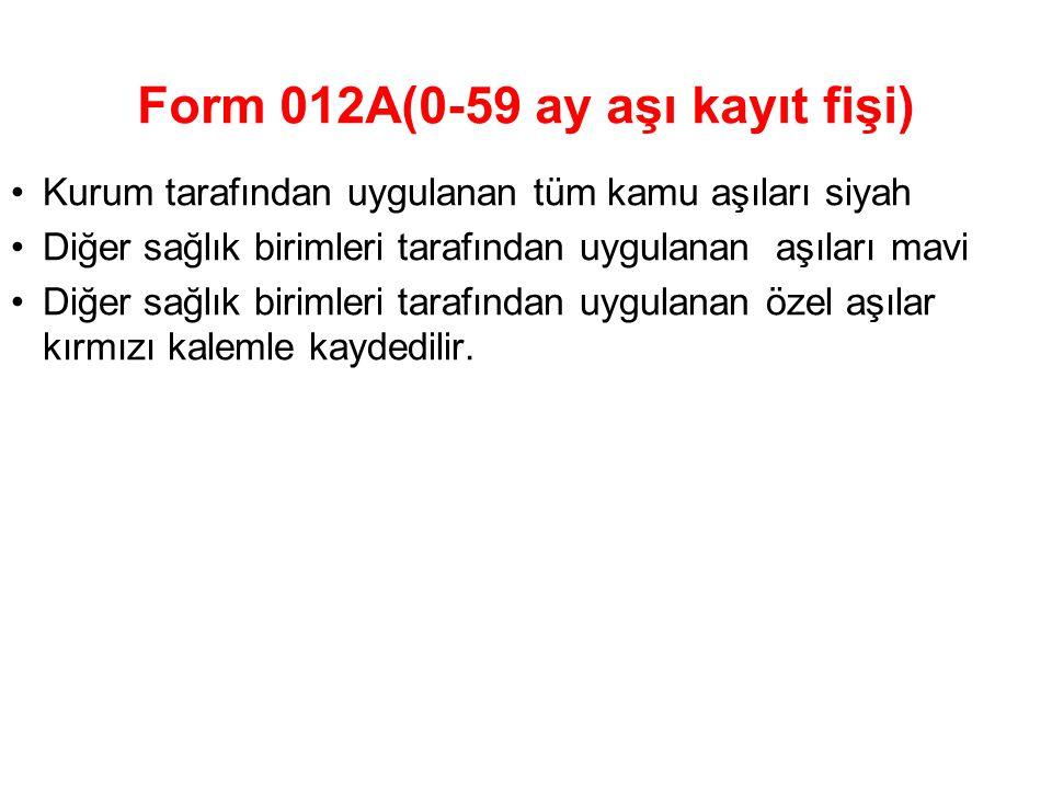 Form 012A(0-59 ay aşı kayıt fişi) Kurum tarafından uygulanan tüm kamu aşıları siyah Diğer sağlık birimleri tarafından uygulanan aşıları mavi Diğer sağ