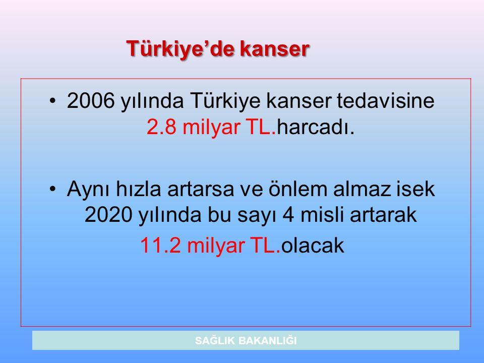 Türkiye'de kanser 2006 yılında Türkiye kanser tedavisine 2.8 milyar TL.harcadı. Aynı hızla artarsa ve önlem almaz isek 2020 yılında bu sayı 4 misli ar