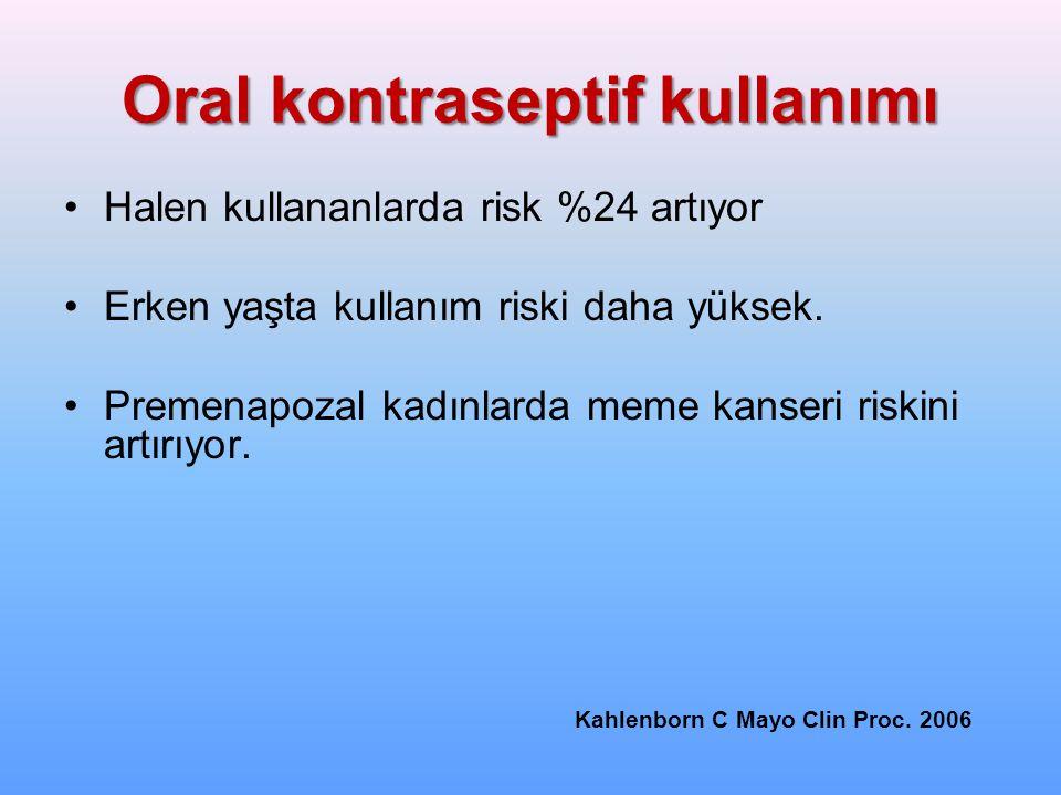 Oral kontraseptif kullanımı Halen kullananlarda risk %24 artıyor Erken yaşta kullanım riski daha yüksek. Premenapozal kadınlarda meme kanseri riskini