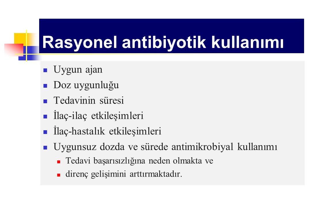 Rasyonel antibiyotik kullanımı Uygun ajan Doz uygunluğu Tedavinin süresi İlaç-ilaç etkileşimleri İlaç-hastalık etkileşimleri Uygunsuz dozda ve sürede