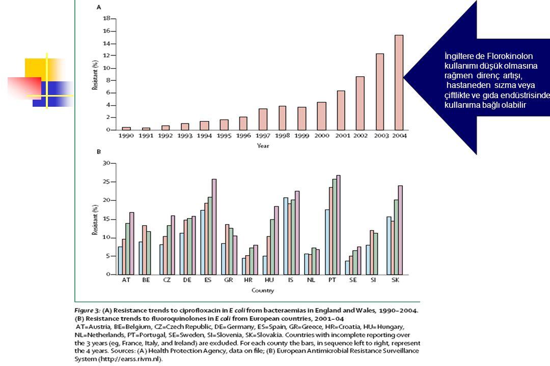 İngiltere de Florokinolon kullanımı düşük olmasına rağmen direnç artışı, hastaneden sızma veya çiftlikte ve gıda endüstrisinde kullanıma bağlı olabili