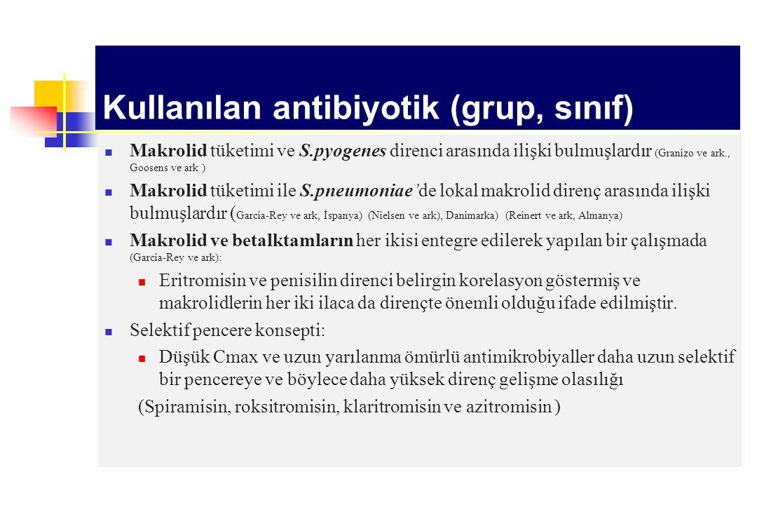Makrolid tüketimi ve S.pyogenes direnci arasında ilişki bulmuşlardır (Granizo ve ark., Goosens ve ark ) Makrolid tüketimi ile S.pneumoniae'de lokal ma