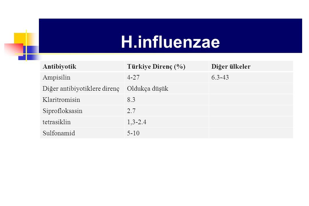 H.influenzae AntibiyotikTürkiye Direnç (%)Diğer ülkeler Ampisilin4-276.3-43 Diğer antibiyotiklere dirençOldukça düşük Klaritromisin8.3 Siprofloksasin2