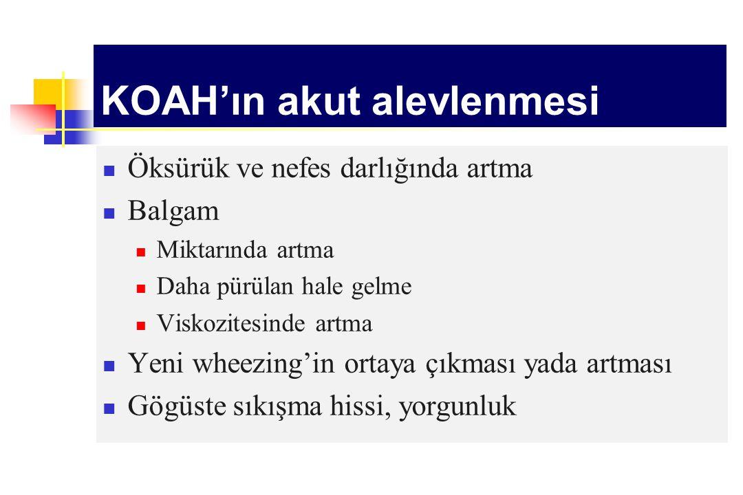 KOAH'ın akut alevlenmesi Öksürük ve nefes darlığında artma Balgam Miktarında artma Daha pürülan hale gelme Viskozitesinde artma Yeni wheezing'in ortay
