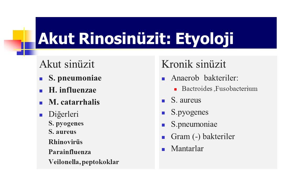 Akut Rinosinüzit: Etyoloji Akut sinüzit S. pneumoniae H. influenzae M. catarrhalis Diğerleri S. pyogenes S. aureus Rhinovirüs Parainfluenza Veilonella
