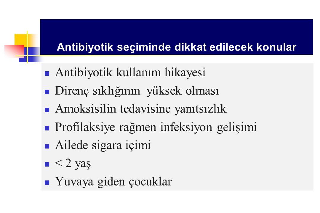 Antibiyotik seçiminde dikkat edilecek konular Antibiyotik kullanım hikayesi Direnç sıklığının yüksek olması Amoksisilin tedavisine yanıtsızlık Profila