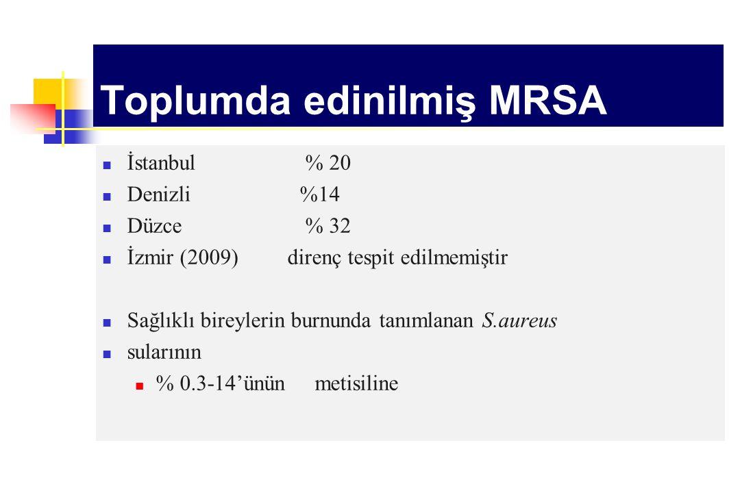 Toplumda edinilmiş MRSA İstanbul % 20 Denizli%14 Düzce % 32 İzmir (2009) direnç tespit edilmemiştir Sağlıklı bireylerin burnunda tanımlanan S.aureus s