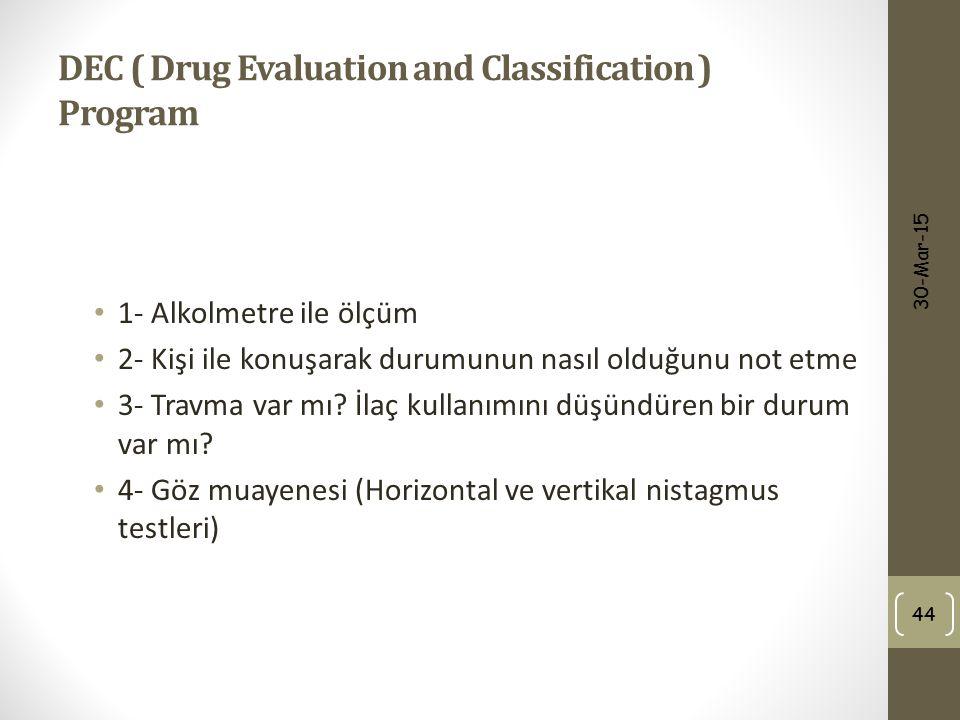 DEC ( Drug Evaluation and Classification ) Program 1- Alkolmetre ile ölçüm 2- Kişi ile konuşarak durumunun nasıl olduğunu not etme 3- Travma var mı? İ