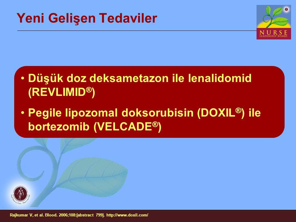 Yeni Gelişen Tedaviler Düşük doz deksametazon ile lenalidomid (REVLIMID ® ) Pegile lipozomal doksorubisin (DOXIL ® ) ile bortezomib (VELCADE ® ) Rajku