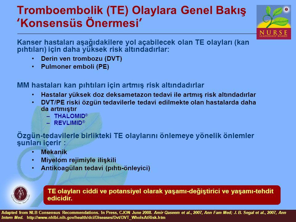 Tromboembolik (TE) Olaylara Genel Bakış 'Konsensüs Önermesi' Kanser hastaları aşağıdakilere yol açabilecek olan TE olayları (kan pıhtıları) için daha