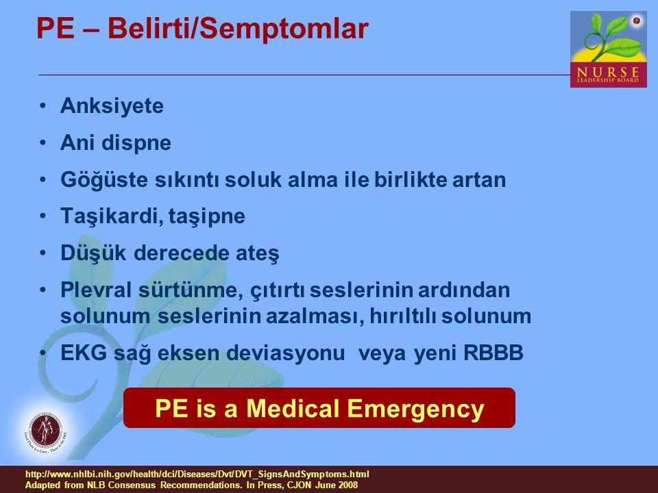 PE – Belirti/Semptomlar Anksiyete Ani dispne Göğüste sıkıntı soluk alma ile birlikte artan Taşikardi, taşipne Düşük derecede ateş Plevral sürtünme, çı
