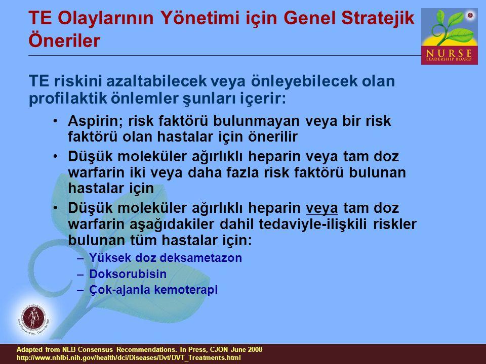 TE Olaylarının Yönetimi için Genel Stratejik Öneriler TE riskini azaltabilecek veya önleyebilecek olan profilaktik önlemler şunları içerir: Aspirin; r