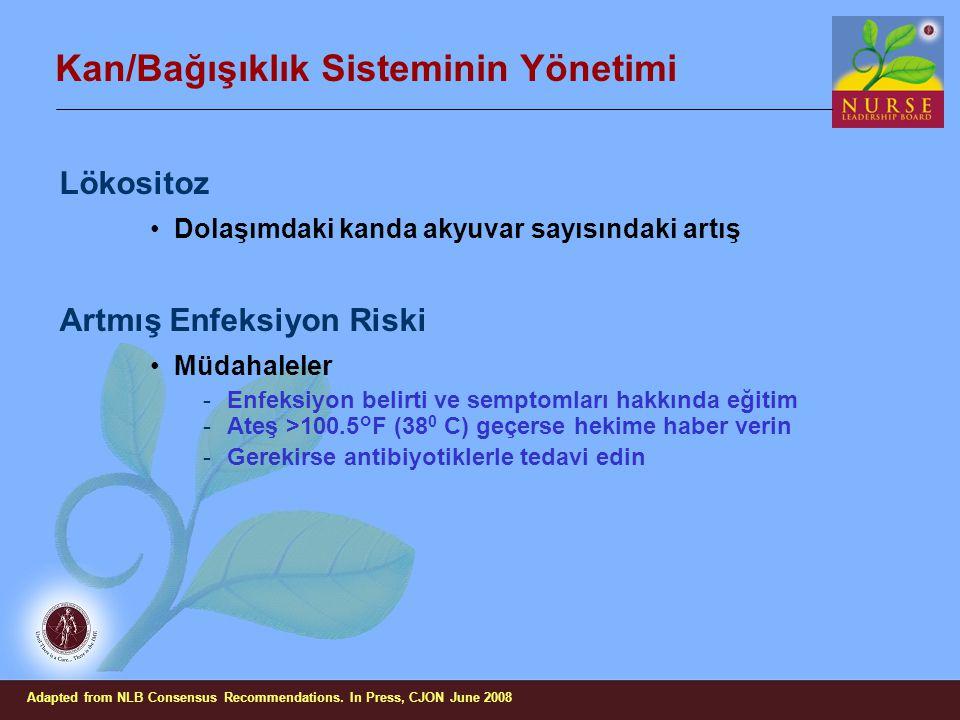 Kan/Bağışıklık Sisteminin Yönetimi Lökositoz Dolaşımdaki kanda akyuvar sayısındaki artış Artmış Enfeksiyon Riski Müdahaleler -Enfeksiyon belirti ve se
