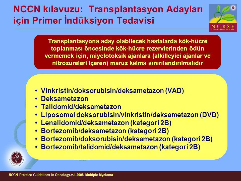 NCCN kılavuzu: Transplantasyon Adayları için Primer İndüksiyon Tedavisi Vinkristin/doksorubisin/deksametazon (VAD) Deksametazon Talidomid/deksametazon