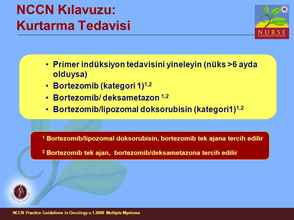 NCCN Kılavuzu: Kurtarma Tedavisi Primer indüksiyon tedavisini yineleyin (nüks >6 ayda olduysa) Bortezomib (kategori 1) 1,2 Bortezomib/ deksametazon 1,2 Bortezomib/lipozomal doksorubisin (kategori1) 1,2 1 Bortezomib/lipozomal doksorubisin, bortezomib tek ajana tercih edilir 2 Bortezomib tek ajan, bortezomib/deksametazona tercih edilir NCCN Practice Guidelines in Oncology-v.1.2008 Multiple Myeloma
