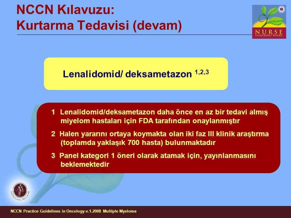 NCCN Kılavuzu: Kurtarma Tedavisi (devam) Lenalidomid/ deksametazon 1,2,3 1 Lenalidomid/deksametazon daha önce en az bir tedavi almış miyelom hastaları