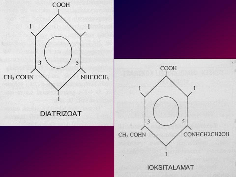 İYONİK MONOMERİK KONTRAST MADDELER 1 (Yüksek ozmolariteli) Benzoik asit türevlerinin monoasidk tuzlarıdır. Bunlara daha sonra geliştirilen düşük osmol