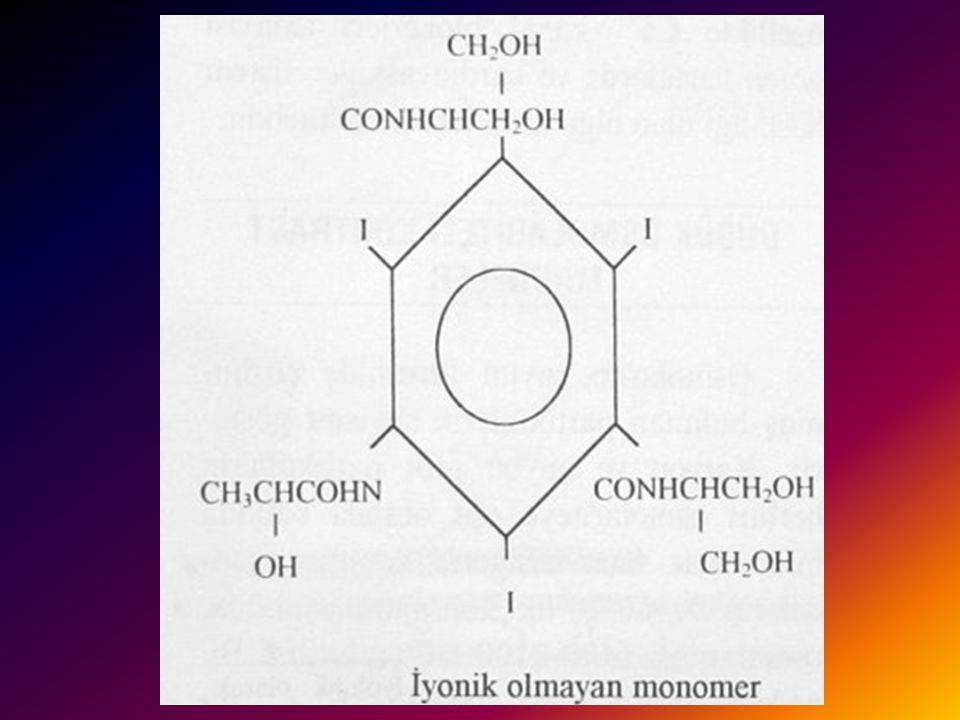 İYONİK OLMAYAN MONOMERİK KONTRAST MADDELER 2 Osmolariteyi azaltmak için moleküldeki iyonize olan karboksil grubu yerine disosiye olmayan amid bağlayar