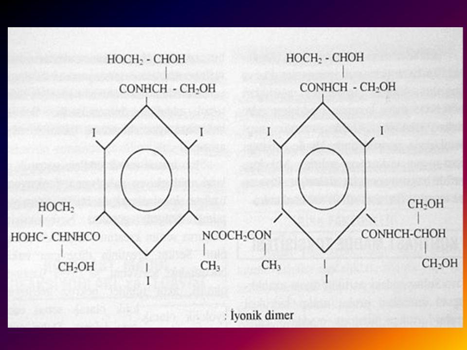 İYONİK DİMERİK KONTRAST MADDELER 1 Bir kontrast maddenin iyot / partikül oranını artırmanın diğer yolu ise moleküldeki iyot miktarını artırmaktır. İki