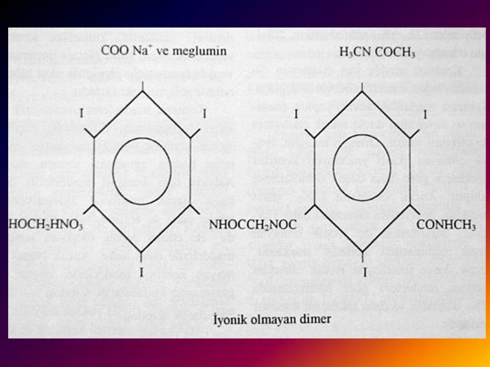 İYONİK OLMAYAN DİMERİK KONTRAST MADDELER 1 Kontrast madde gelişiminde son aşama,ioxaglat'taki dimerik yaklaşımla, iyonik olmayan kontrast maddelerdeki