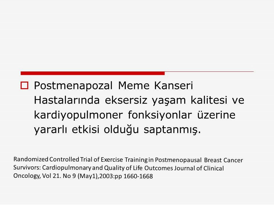  Postmenapozal Meme Kanseri Hastalarında eksersiz yaşam kalitesi ve kardiyopulmoner fonksiyonlar üzerine yararlı etkisi olduğu saptanmış.