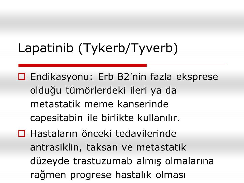 Lapatinib (Tykerb/Tyverb)  Endikasyonu: Erb B2'nin fazla eksprese olduğu tümörlerdeki ileri ya da metastatik meme kanserinde capesitabin ile birlikte kullanılır.