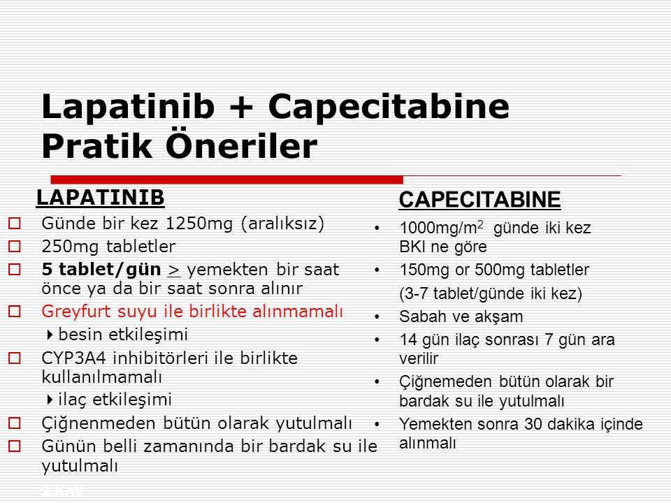 S.KAV Lapatinib + Capecitabine Pratik Öneriler LAPATINIB  Günde bir kez 1250mg (aralıksız)  250mg tabletler  5 tablet/gün > yemekten bir saat önce ya da bir saat sonra alınır  Greyfurt suyu ile birlikte alınmamalı  besin etkileşimi  CYP3A4 inhibitörleri ile birlikte kullanılmamalı  ilaç etkileşimi  Çiğnenmeden bütün olarak yutulmalı  Günün belli zamanında bir bardak su ile yutulmalı CAPECITABINE 1000mg/m 2 günde iki kez BKI ne göre 150mg or 500mg tabletler (3-7 tablet/günde iki kez) Sabah ve akşam 14 gün ilaç sonrası 7 gün ara verilir Çiğnemeden bütün olarak bir bardak su ile yutulmalı Yemekten sonra 30 dakika içinde alınmalı
