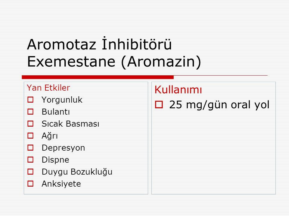 Aromotaz İnhibitörü Exemestane (Aromazin) Yan Etkiler  Yorgunluk  Bulantı  Sıcak Basması  Ağrı  Depresyon  Dispne  Duygu Bozukluğu  Anksiyete Kullanımı  25 mg/gün oral yol