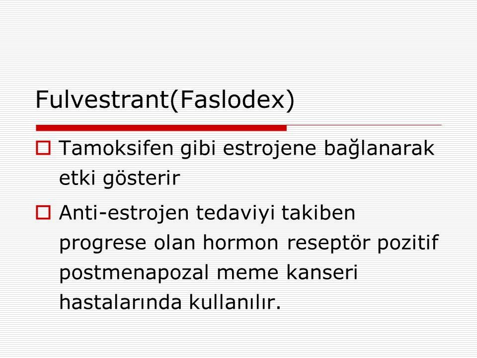 Fulvestrant(Faslodex)  Tamoksifen gibi estrojene bağlanarak etki gösterir  Anti-estrojen tedaviyi takiben progrese olan hormon reseptör pozitif postmenapozal meme kanseri hastalarında kullanılır.