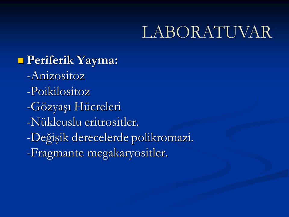 Periferik Yayma: -Anizositoz -Poikilositoz -Gözyaşı Hücreleri -Nükleuslu eritrositler. -Değişik derecelerde polikromazi. -Fragmante megakaryositler. P