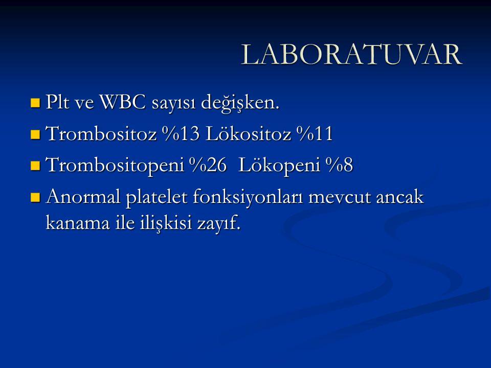 Plt ve WBC sayısı değişken. Plt ve WBC sayısı değişken. Trombositoz %13 Lökositoz %11 Trombositoz %13 Lökositoz %11 Trombositopeni %26 Lökopeni %8 Tro