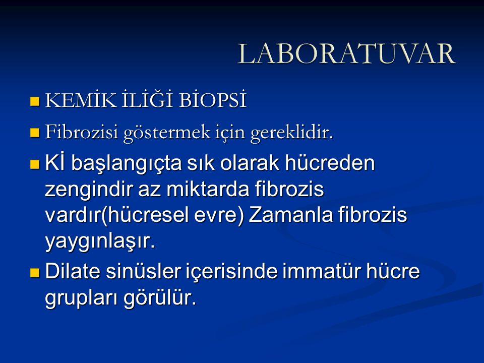 KEMİK İLİĞİ BİOPSİ KEMİK İLİĞİ BİOPSİ Fibrozisi göstermek için gereklidir. Fibrozisi göstermek için gereklidir. Kİ başlangıçta sık olarak hücreden zen