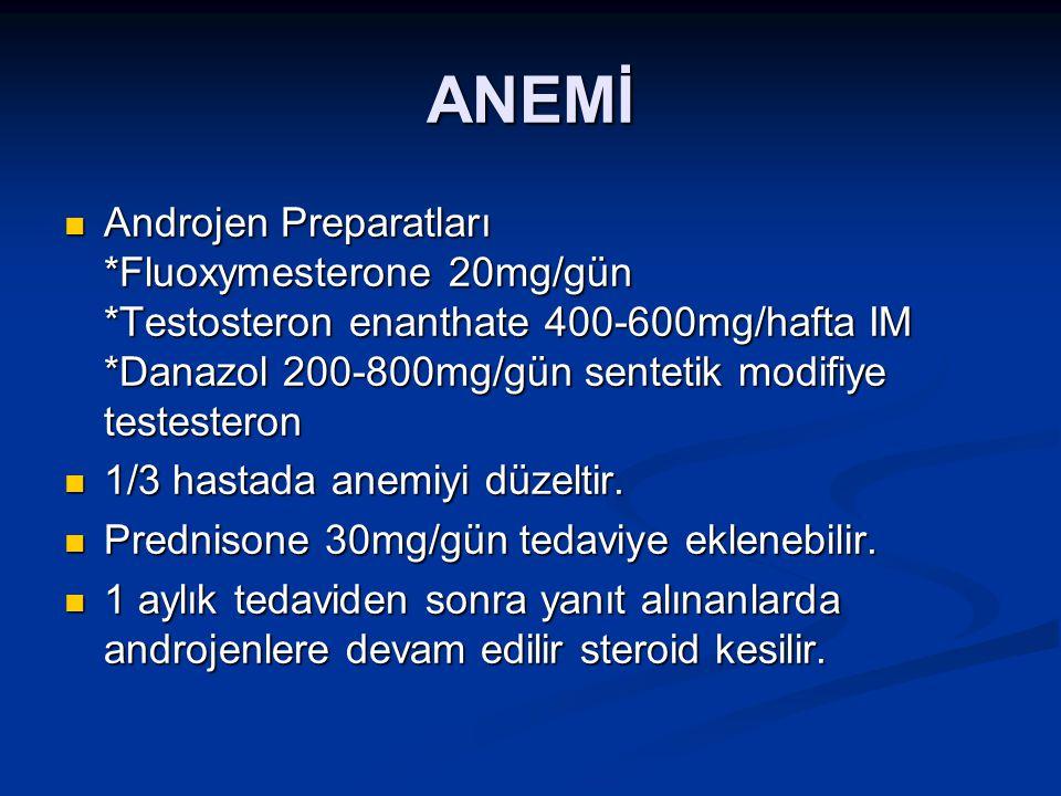 ANEMİ Androjen Preparatları *Fluoxymesterone 20mg/gün *Testosteron enanthate 400-600mg/hafta IM *Danazol 200-800mg/gün sentetik modifiye testesteron A