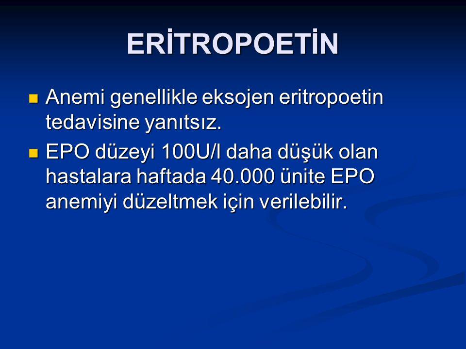 ERİTROPOETİN Anemi genellikle eksojen eritropoetin tedavisine yanıtsız. Anemi genellikle eksojen eritropoetin tedavisine yanıtsız. EPO düzeyi 100U/l d