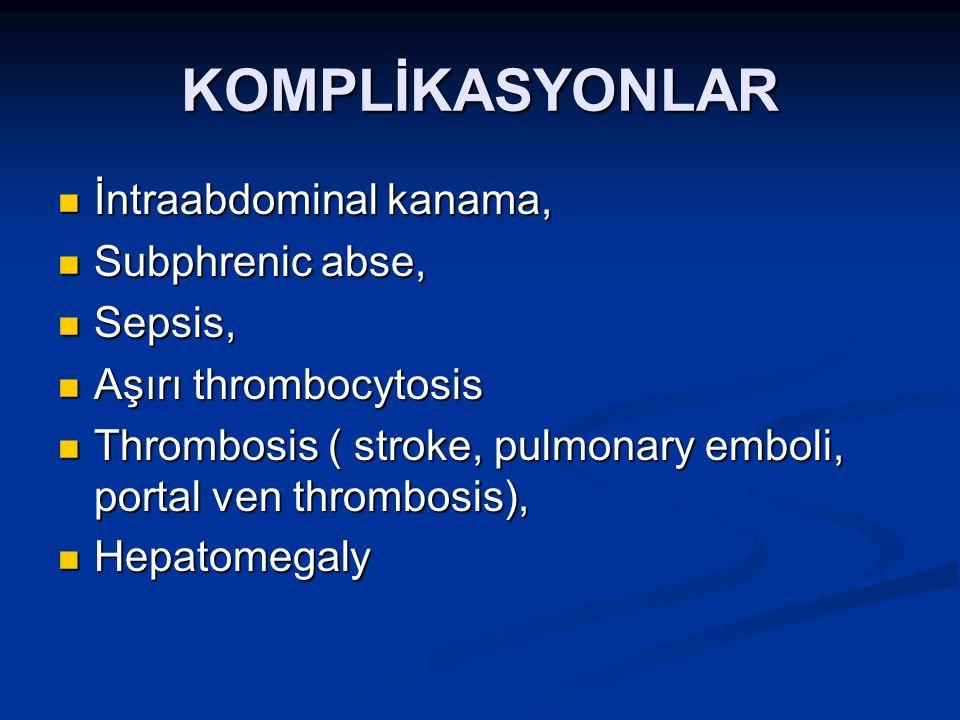 KOMPLİKASYONLAR İntraabdominal kanama, İntraabdominal kanama, Subphrenic abse, Subphrenic abse, Sepsis, Sepsis, Aşırı thrombocytosis Aşırı thrombocyto