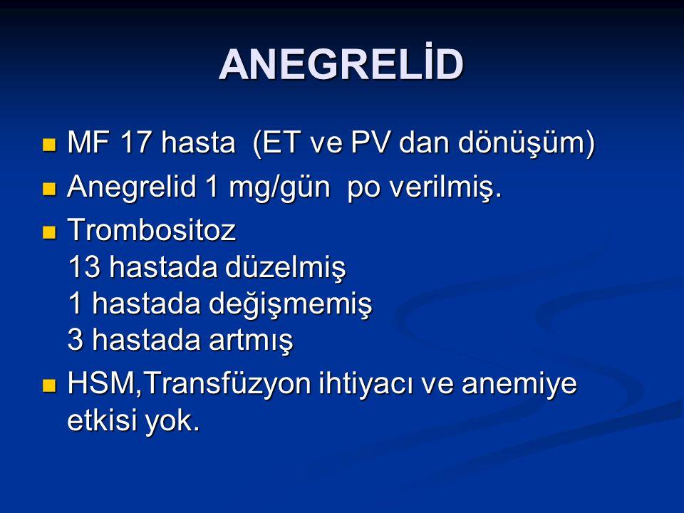 ANEGRELİD MF 17 hasta (ET ve PV dan dönüşüm) MF 17 hasta (ET ve PV dan dönüşüm) Anegrelid 1 mg/gün po verilmiş. Anegrelid 1 mg/gün po verilmiş. Trombo