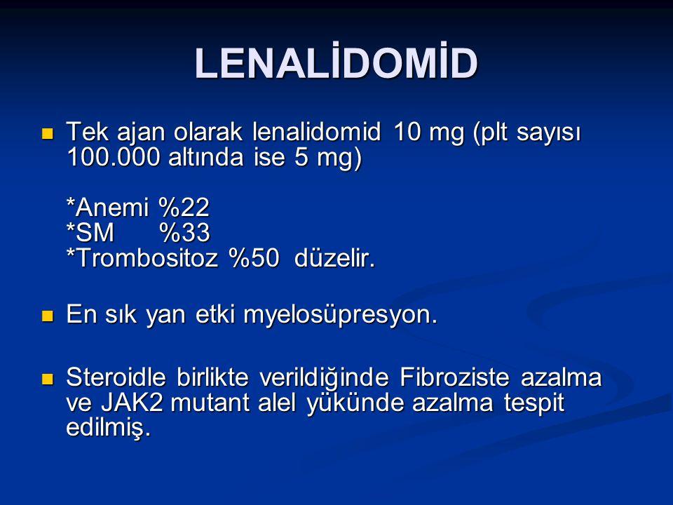LENALİDOMİD Tek ajan olarak lenalidomid 10 mg (plt sayısı 100.000 altında ise 5 mg) *Anemi %22 *SM %33 *Trombositoz %50 düzelir. Tek ajan olarak lenal