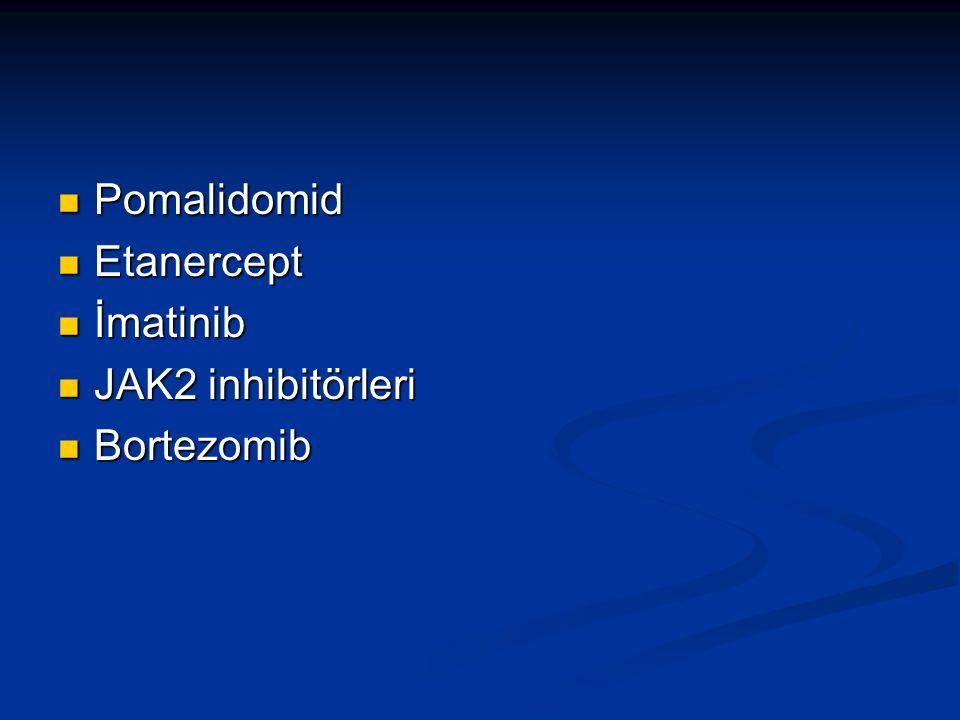Pomalidomid Pomalidomid Etanercept Etanercept İmatinib İmatinib JAK2 inhibitörleri JAK2 inhibitörleri Bortezomib Bortezomib